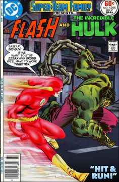 Super-Team Family: The Lost Issues!: The Flash and The Hulk Dc Comic Books, Comic Book Covers, Comic Book Characters, Marvel Characters, Comic Character, Comic Art, Dc Comics Vs Marvel, Archie Comics, Marvel And Dc Crossover