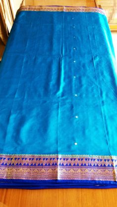 Indienne Sari Vintage Pure soie Turquoise / Bleu Royal tissu