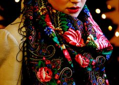 Colorful Russian print scarf