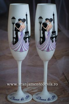 Pahare miri Champaign Glasses, Heart Coloring Pages, Couple Painting, Wedding Glasses, Candels, Wedding Couples, Wine Glass, Wedding Decorations, Diamond