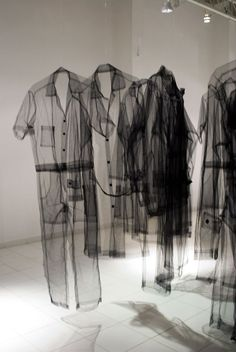 The sheerness of these clothes in this installation in ethereal and ghost-like. fashion art exhibition // Claudia Casarino LOVE THESE! Fashion Details, Look Fashion, Fashion Art, Fashion Design, Ghost Fashion, Trendy Fashion, Art Conceptual, Mode 3d, Lolita Mode