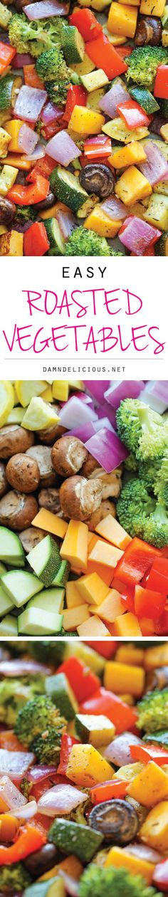 Vegetables - The easiest, simplest, and BEST way to roast vegetables - perfectly tender and packed with so much flavor!Roasted Vegetables - The easiest, simplest, and BEST way to roast vegetables - perfectly tender and packed with so much flavor! Side Dish Recipes, Veggie Recipes, Vegetarian Recipes, Cooking Recipes, Healthy Recipes, Cooking Tips, Roasted Vegetable Recipes, Vegetarian Grilling, Cooking Cake