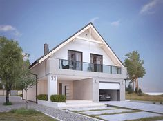 Zdjęcie projektu Amarylis 4 BSA2102 House Front Design, House Design Photos, Modern House Design, Best House Plans, Modern House Plans, Bungalow Renovation, Exterior Remodel, Commercial Architecture, Facade House