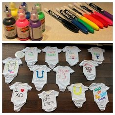 Decorate-A-Onesie baby shower activity (great alternative to a game) www.weheartparties.com