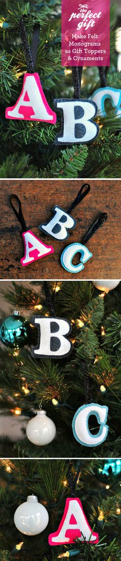 The Perfect Gift: Felt Monogram Ornaments: #diy #gift #ornaments #christmas #felt #letters http://www.designmom.com/category/make-something/page/4/