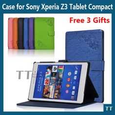 For sony z3 compact case Smart PU leather Case cover For Sony Xperia Z3 Compact tablet cover case + Free 3 Gifts