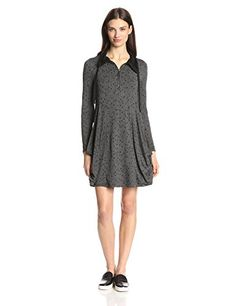 Kensie Women's Scattered Dots Dress, Heather Dark Grey Combo, X-Small *** Click on the image for additional details.