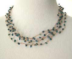 Turquoise Beaded Necklace by AshevilleHandmade on Etsy, $35.00