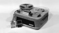 1959 - TC-101 - Recorder. A more refined version of the H Type home reel-to-reel recorder. More compact, yet compatible with 7-inch reels. To create the TC-101, Sony introduced a technique of cutting notches into the veneer to form a loop, producing rounded corners. The case is covered in vinyl with a printed pattern for a more familiar appearance. Designers also added other convenient features for better usability, including pictograms showing how to control reels.