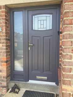 Exterior Lyon Six Upvc Door External White PVC Doors. Yellow And Gray Design With Paint For The Exterior Of Your . Home Design Ideas Front Door Porch, Grey Front Doors, Porch Doors, Front Porch Design, Front Door Entrance, Front Door Colors, House Entrance, House Front, Entry Doors