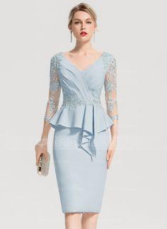 9097ebf021e   145.50  Sheath Column V-neck Knee-Length Stretch Crepe Cocktail Dress  With Appliques Lace Cascading Ruffles (016154245)