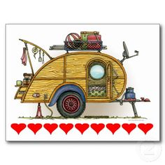 Cute RV Vintage Teardrop Camper Travel Trailer Postcard stuff to bring camping, camping classroom theme, survival gifts ideas Vintage Campers Trailers, Camper Trailers, Travel Trailers, Camper Van, Tiny Trailers, Rv Trailer, Vintage Caravans, Camper Life, Rv Life