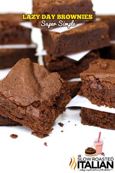 Lazy Day Brownies are a perfectly chocolaty, moist and delicious recipe.  1 bowl and 25 minutes until you can dive into this fabulous treat!