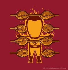 The Human Torch as a Chicken Roaster. If Superheroes had Part-time Jobs Graphic Design Project by Hon Chow #graphic #superheros