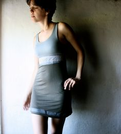 Jersey Dress In blue and brown with lace insert - size small. €70,00, via Etsy.