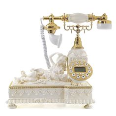 LNC Retro Reproduction Telephone with Push Button Dial,White,LCD Display