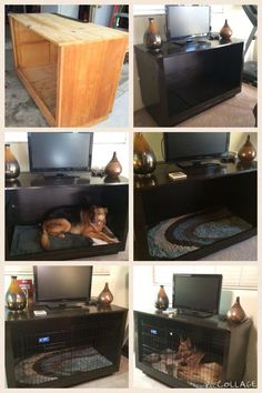 DIY Furniture dog crate tv stand dog bed - World of Animals Crate Tv Stand, Dog Crate Table, Crate Bench, Diy Dog Crate, Diy Tv Stand, Diy Dog Bed, Diy Bed, Diy Furniture Dog Crate, Cheap Furniture