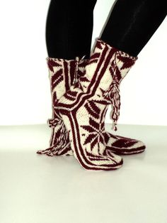 Valentines Handknitted Wool Burgundy and White Long by aykelila, $42.00