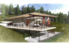 Browse our collection of hillside house plans that maximize space w/walkout basements. Contemporary House Plans, Modern House Plans, Small House Plans, Modern Deck, Contemporary Style, Building Design, Building A House, Houses On Slopes, Pole House