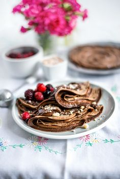 Chocolate crêpes with Nutella and mixed berries for Pancake Day