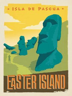 Art Silk Poster New Chile Easter Island Isla De Pascua Vintage Travel - Abstract Poster - Ideas of Abstract Poster Tourism Poster, Poster Ads, Easter Island Travel, Framed Postcards, Vintage Travel Posters, Retro Posters, Art Posters, Stickers, Pop Art