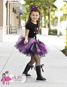 Riley Rockn Pirate Skull Rock and Roll Rock Star Tutu Outfit- Pop Star - Pirate Princess - Birthday Party - Black Skull Shirt - 6mos-5T