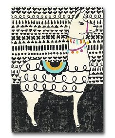 Another great find on #zulily! Party Llama I Wrapped Canvas #zulilyfinds