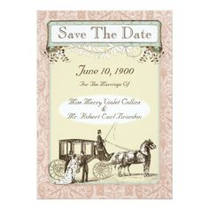 Vintage Horse + Buggy Wedding Save The Date Cards - Perfect for your fairy tale wedding. See all the color ways for this collection.