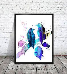 Birds 2 Watercolor Print,Archival Fine Art Print,Children's Wall Art, Home Decor, animal watercolor, watercolor painting,bird art, art print