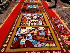 Beautiful rug made with sawdust at Antigua Guatemala, Guatemala 2013
