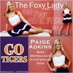 Paige Adkins #MissMetrolinasOutstandingTeen #Clemson #Tigers #PurpleAndOrange #ShopFoxyLady! #Countdown to #KickOFF! Do you have your #GameDayOutfit yet? #Cheer on your #Tigers in #whimsical #style with our #colorful #purple, #orange, and #white #dress #daffodil #detail on #strap! ($78) #JustIn, Only a few short weeks left till #FOOTBALL, this# cute number won't be around long! Get yours now! #Call #TheFoxyLady 843-692-7022 #ClemsonTigers#GOTIGERS#FootballFashion#southcarolina #ShopFoxyLady
