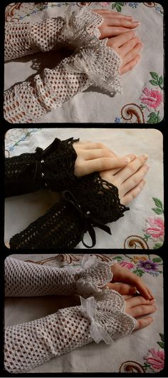 vintage style lacy crochet wrist warmers by TheIncredibleHow, £45.00