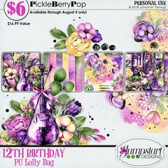 JUMPSTART DESIGNS Helping to jumpstart your creativity with beautiful digital scrapbooking designs at an affordable price! 12th Birthday, Birthday Celebration, Happy Birthday, Lolly Bags, Birthday Design, Digital Scrapbooking, Creative, Happy Brithday, Birthday Canvas