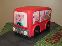 Bus cake with Peppa pig, George pig and daddy pig driving Peppa Pig Birthday Cake, 3rd Birthday, Birthday Parties, Bus Cake, Fire Fighter Cake, George Pig, Wheels On The Bus, Novelty Cakes, Cake Designs