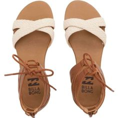 Billabong Women's Wild Waves Sandals ($50) ❤ liked on Polyvore featuring shoes, sandals, flat sandals, footwear, natural, ankle cuff flat sandal, wide sandals, braided sandals, wide gladiator sandals y greek sandals