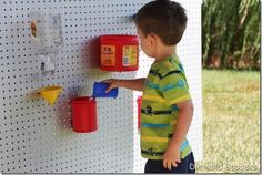 DIY water wall, great water play idea for preschoolers and toddlers.