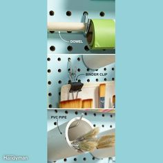 Make Hooks Hold More Some items won't hang directly on pegboard hooks. But with a little ingenuity, you can make hooks hold just about anything. Here are three ideas: Pegboard Shelf Bracket, Metal Pegboard, Sewing Room Organization, Craft Room Storage, Tool Storage, Storage Organization, Craft Rooms, Organizing Tips, Paper Storage