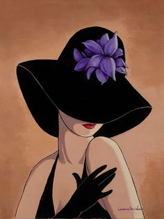 Glamorous ladies in hats Lorraine Dell Wood The artist Lorraine Dell Wood (Lorraine Dell Wood) is a remarkable series of paintings. Lorraine, Painted Rocks, Fashion Art, Modern Art, Art Drawings, Illustration Art, Canvas Art, Artsy, Sketches
