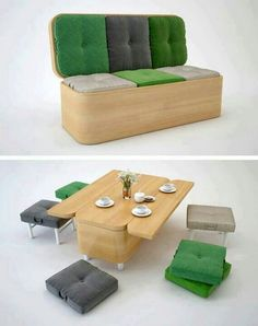 Great invention for saving space...table storage and foldout chair couch