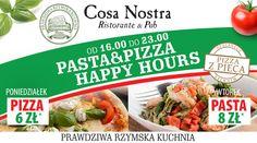 Wszystkie drogi prowadzą dziś do Cosa Nostra!  Wybrane pasty za jedyne 8 złotych od 16:00 do 23:00 :) www.cosanostra.krakow.pl