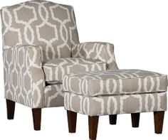 Mayo Furniture 3725f Fabric Chair And Ottoman Kidada Flax Stacy Decor