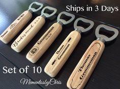 set of 10, Bottle Opener, Personalized Bottle Opener, Groomsmen Gift, Wedding Gift, Engraved Wood opener, Custom Bottle Opener,