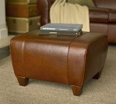 Manhattan Leather Ottoman | Pottery Barn