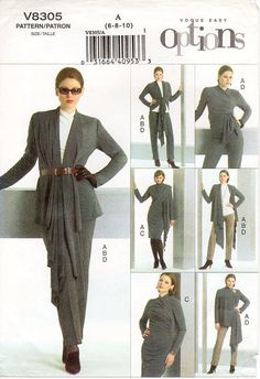 Pick Your Size - Vogue Separates Pattern V8305 - Misses' Jacket, Top, Dress and Pants - Vogue Easy Options Pattern