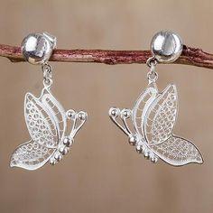 Filigree Butterfly Earrings 925 Sterling Silver Peru Jewelry