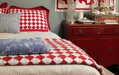 I love the red and white quilt!