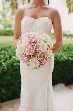 Roses and baby's Breath Bouquet | Rustic Elegance In Jamaica From Jessica Bossé Photography