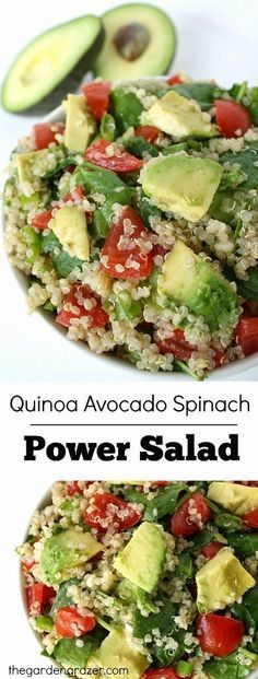 Easy and energizing quinoaEasy and energizing quinoa avocado spcinach power salad that packs a HUGE nutritional punch! (vegan and gluten-free) avocado spinach power salad that packs a HUGE nutritional punch! (vegan and gluten-free) Healthy Salads, Healthy Eating, Healthy Protein, Healthy Food, Healthy Lunches, Taco Salads, Healthy Nutrition, Nutrition Jobs, Nutrition Tracker