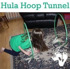 Gross Motor: Hula Hoop Tunnel - Fun indoor activity for kids - 3Dinosaurs.com