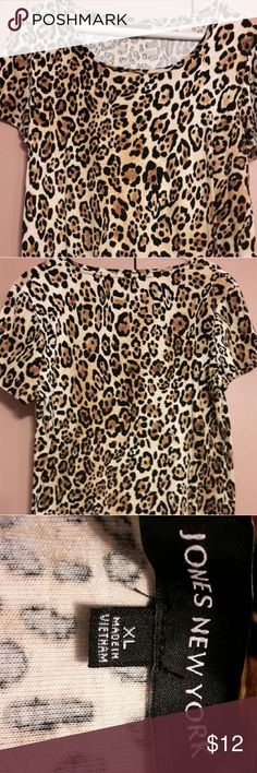 """Leopard  Print  Work Top Pullover short-sleeved black/cream/brown print.  Width-20"""", length-23.  No rips or stains. Comes from a smoke and pet free home. Jones New York Tops Tunics"""